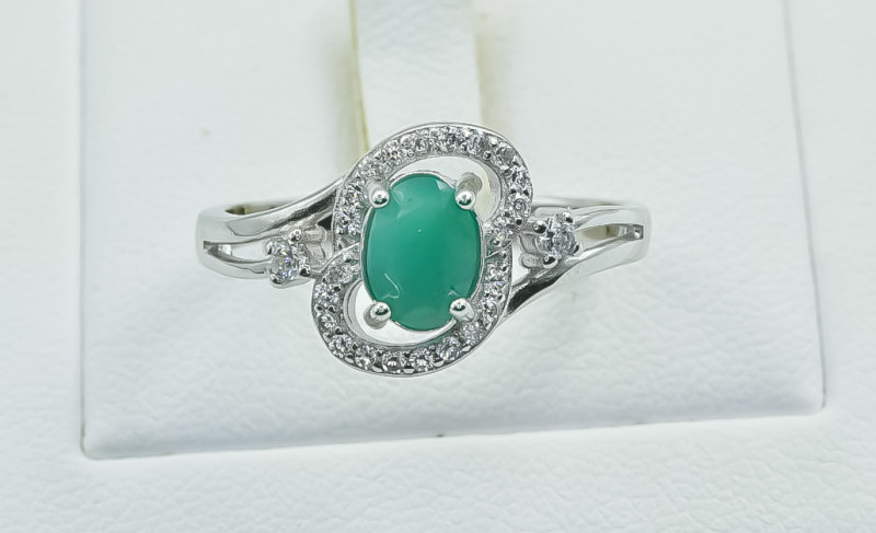 15.31 Crt Natural Emerald 925 Silver Ring