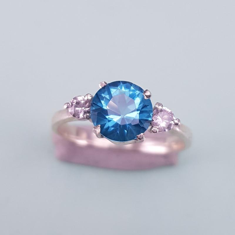 Hand Made Swiss Blue Topaz Ring.