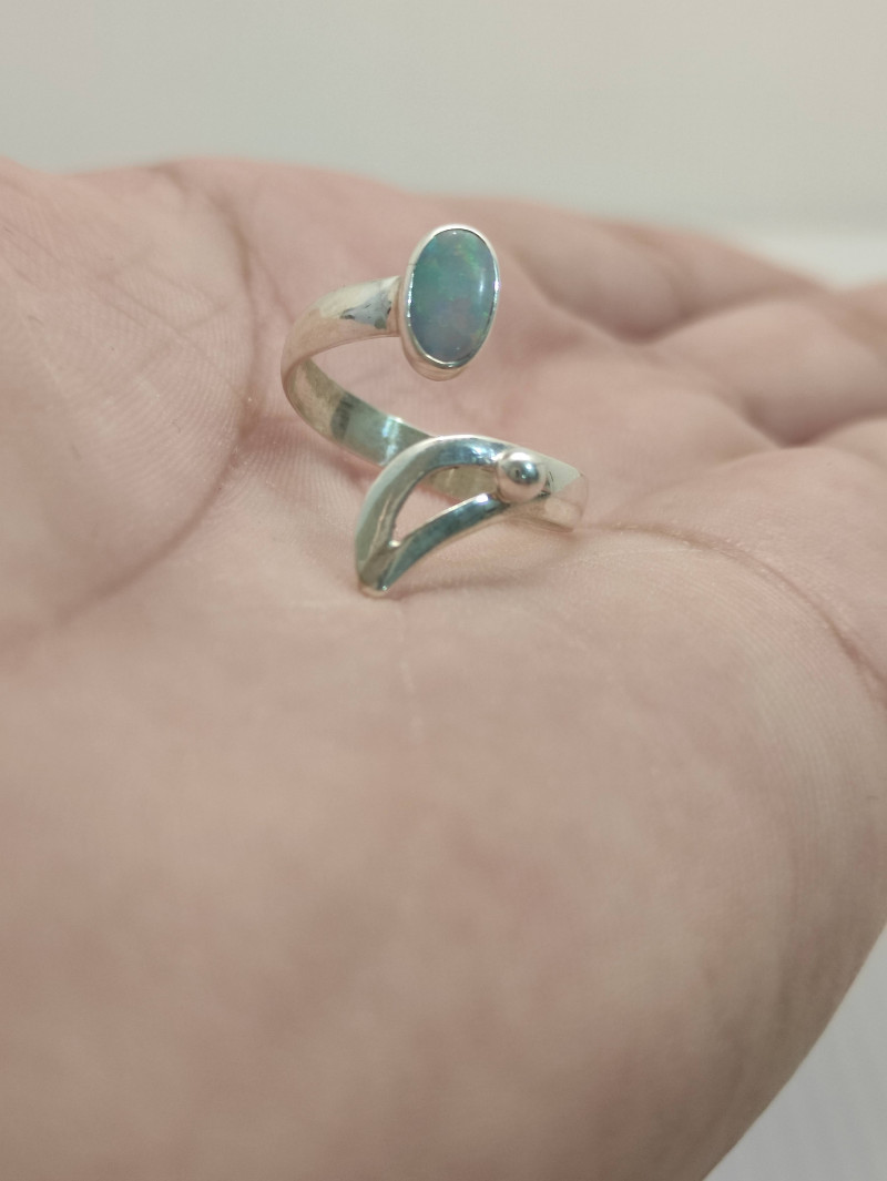 Open 950 silver ring with oval opal