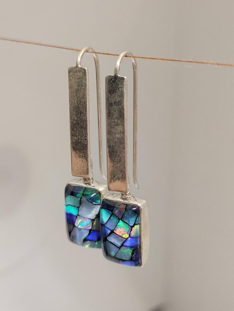 silver hook earring 950 rectangular shape