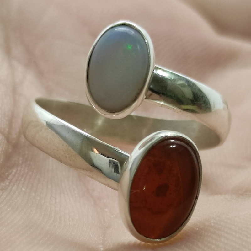 Open 950 silver ring with solid oval shaped opals