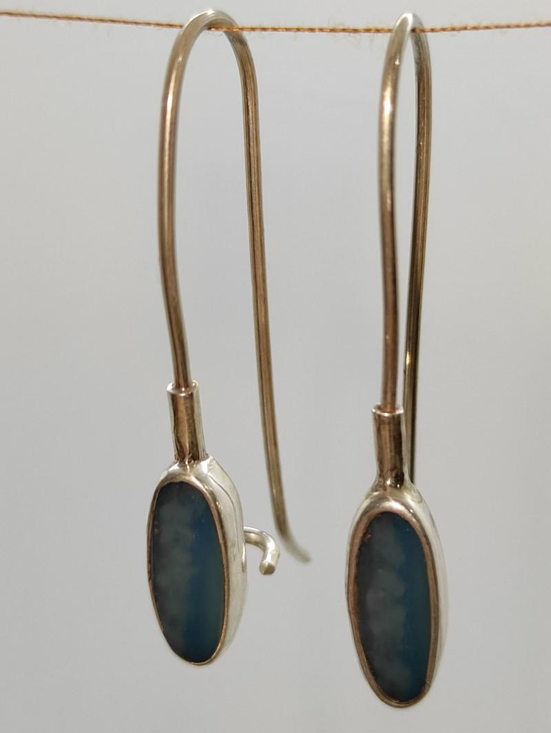 silver earring 950 hook opal oval