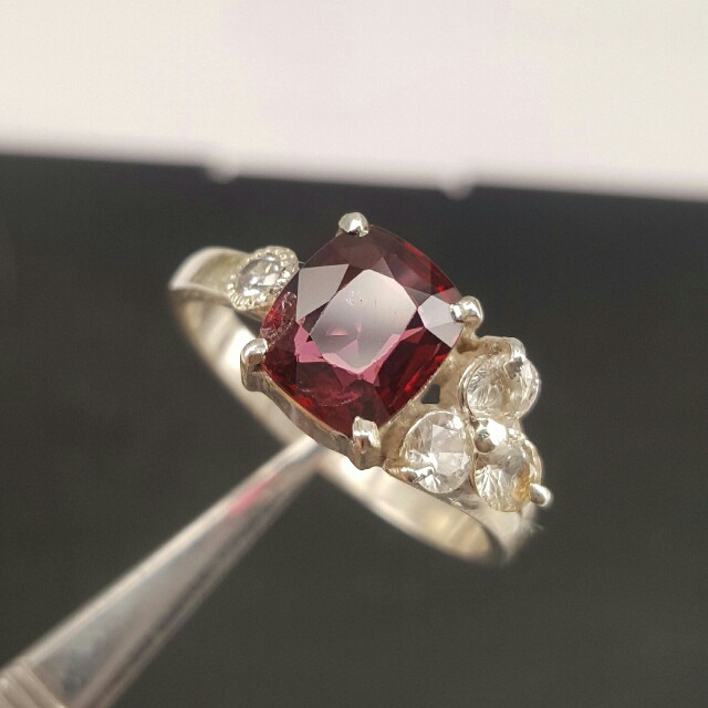 Natural Red Spinel small white sapphire and CZ Ring