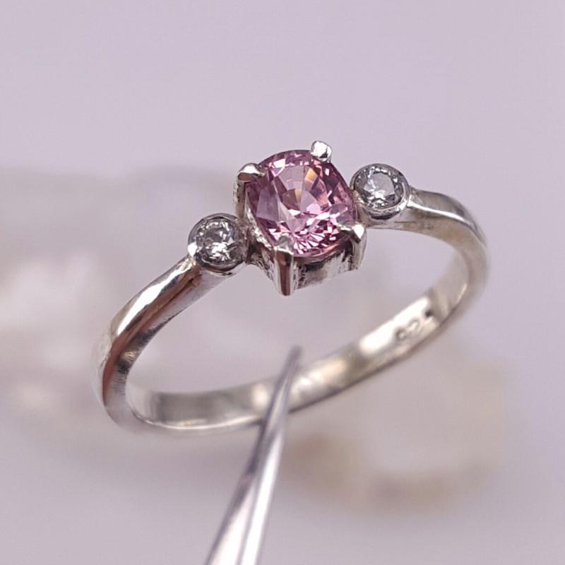 Natural Pink Tajik Spinel and CZ Ring