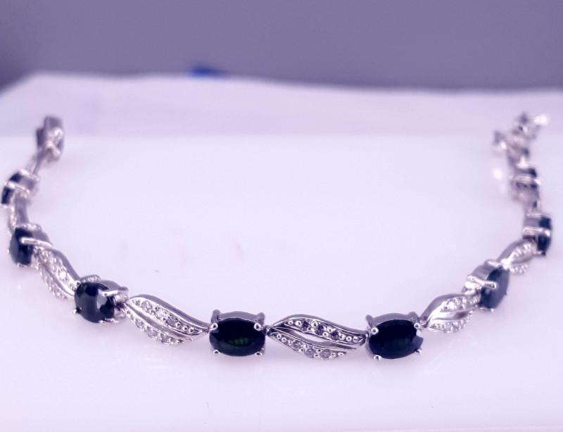 Natural Sapphire Bracelet with CZ.