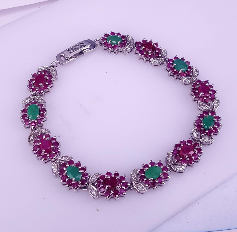 Natural Ruby and Emerald Bracelet.