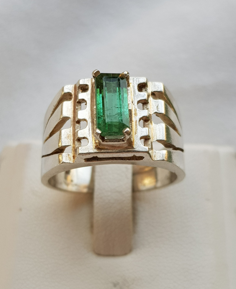 44.80ct Natura Green Tourmaline In Handmade Silver Ring.