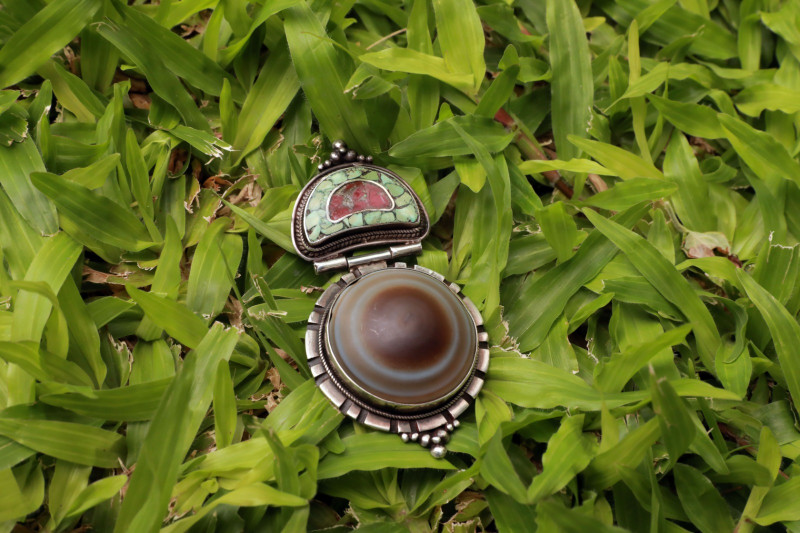 Tibetan Sulaimani agate with turquoise and coral silver pendant