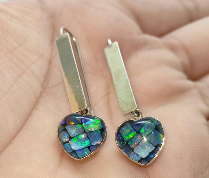 Silver earrings 950 hook with opal mosaic heart shape
