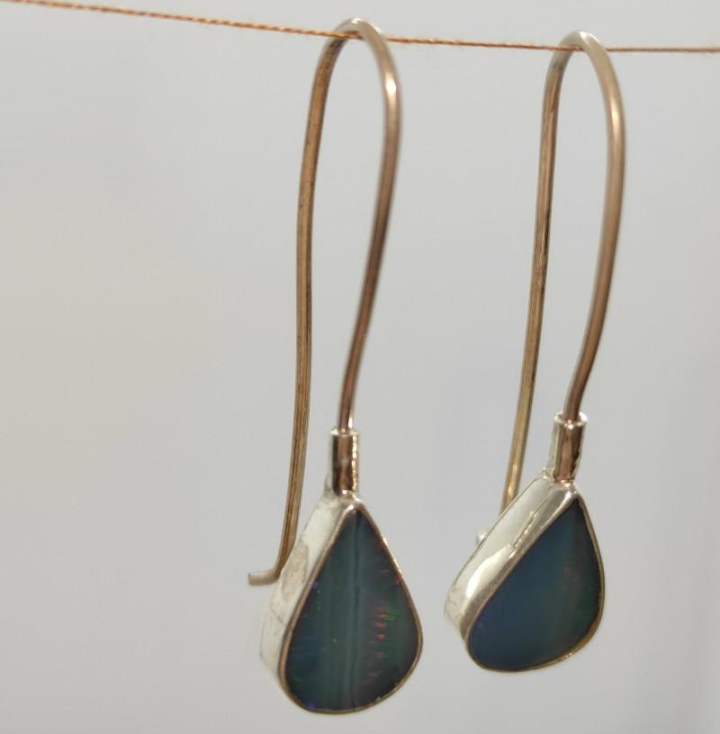 Silver earring 950 hook shape drop