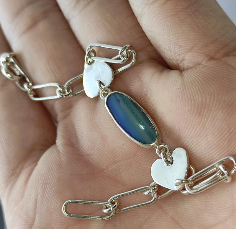 Silver bracelet 950 with opal doublet oval shape
