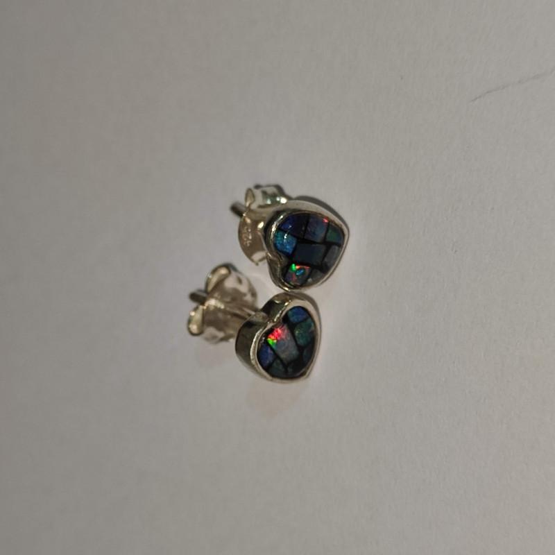 950 silver earrings with heart shaped mosaic opal