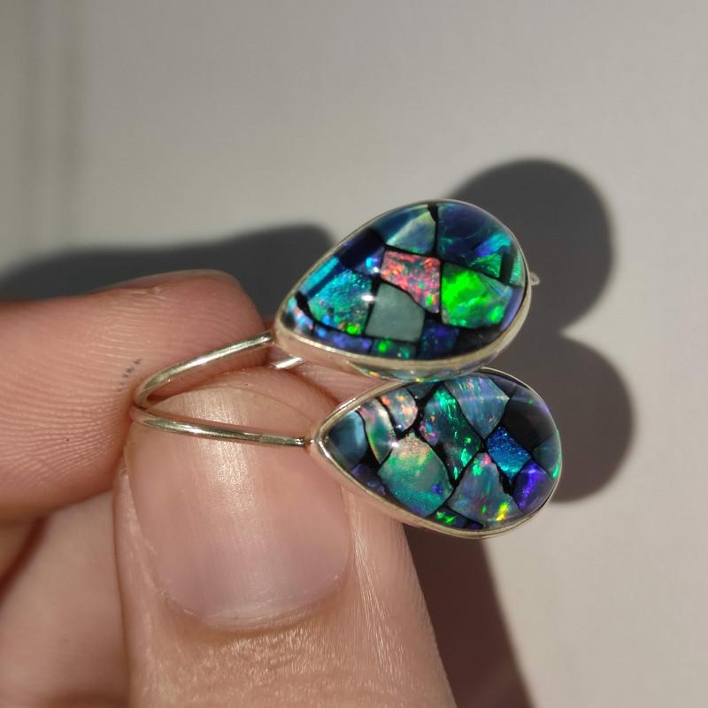 Silver earrings 950 hook with opal mosaic drop shape