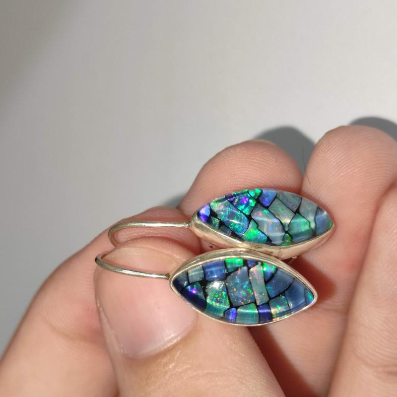 Silver earrings 950 hook with opal mosaic shaped navette