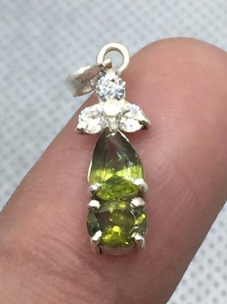 Natural Sphene And CZ Pendant.