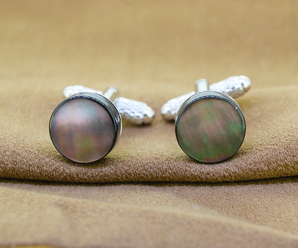 Greyish Natural Mother of Pearl /Shell  Cufflinks, 12mm