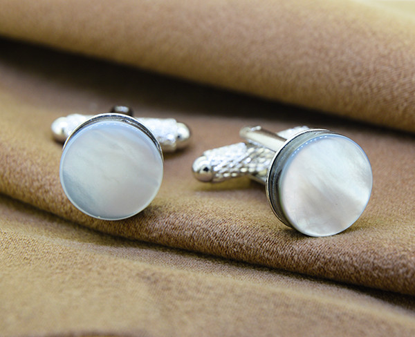 Natural Mother of Pearl/ Shell Cufflinks 12mm Iridescent White