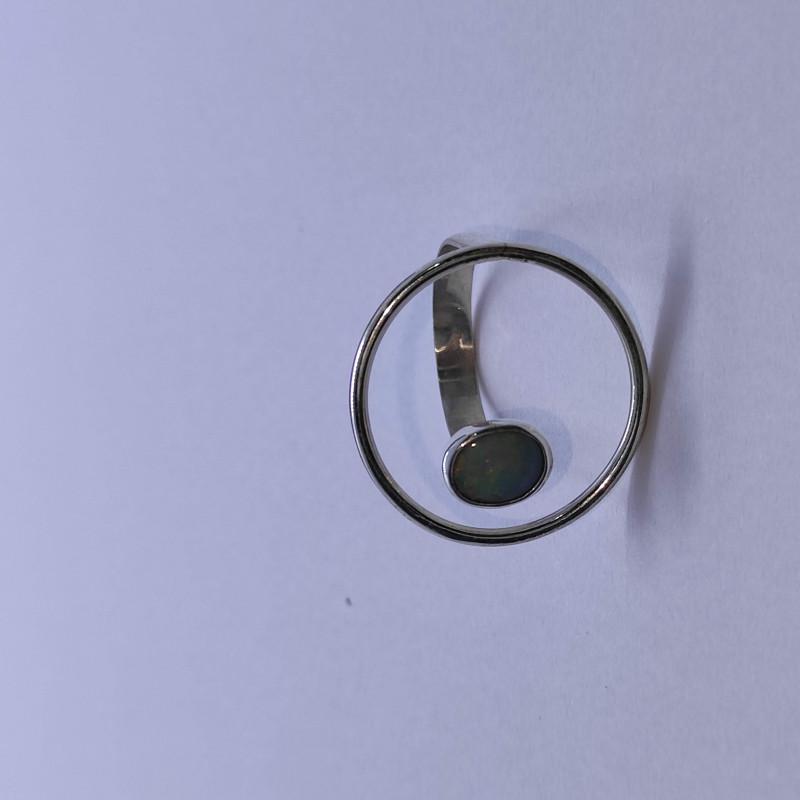 Anel em prata 950 aberto com opala sólida- oval