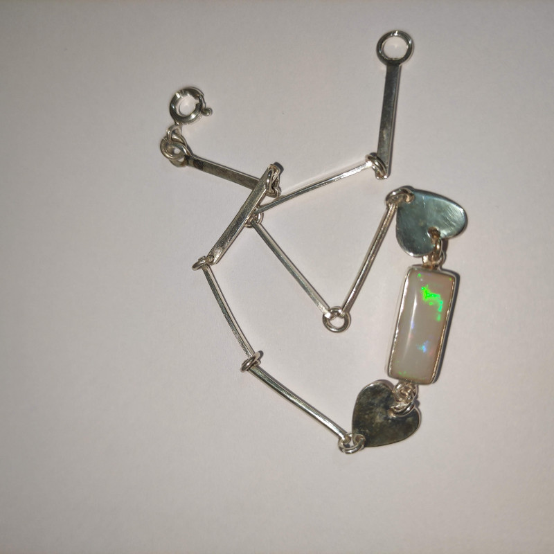 950 silver bracelet with solid opal rectangular shape