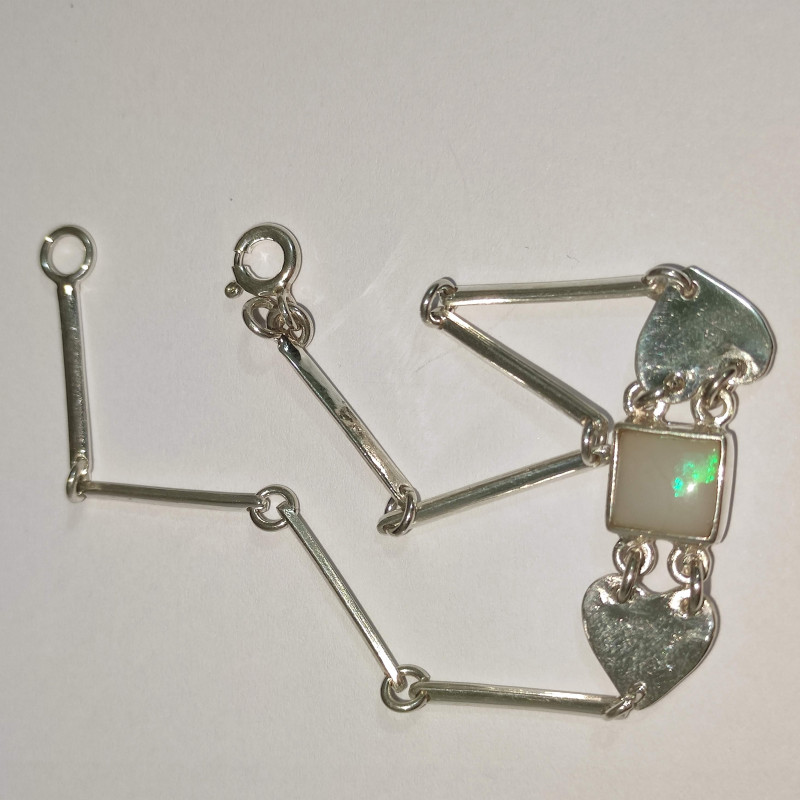 950 silver bracelet with solid opal square shape