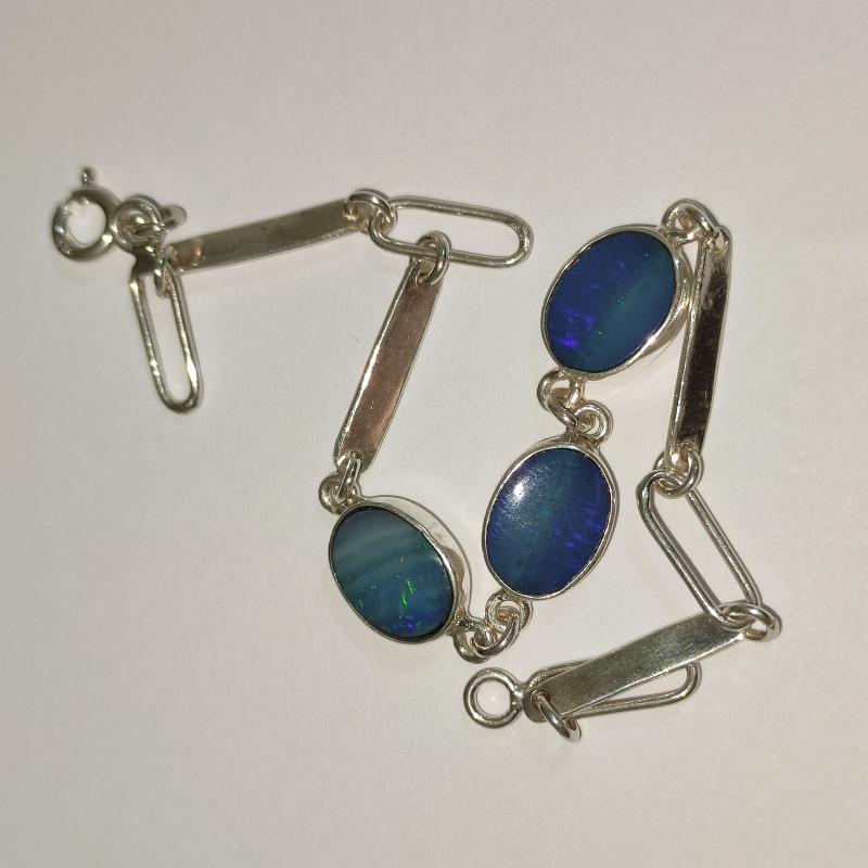 950 silver bracelet with solid opal oval shape