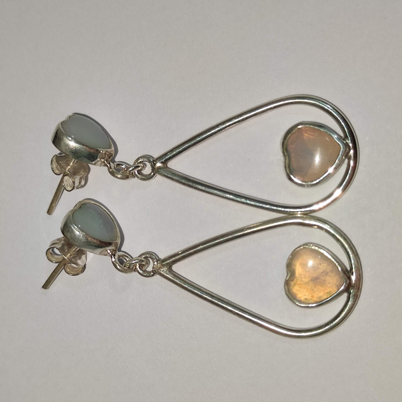 Silver earring 950 open drop shape