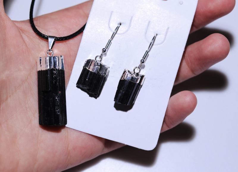 Spiritual  Raw  black Tourmaline 3 pc Jewelry Set   BRBT1-1