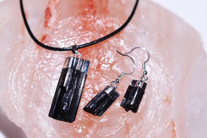 Four sets Spiritual  Raw  black Tourmaline 3pc Jewelry Set   BRBT1-4