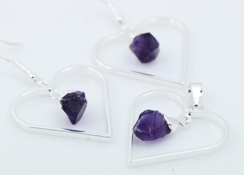 Raw Amethyst Gemstone Lovers Heart Pendant and earring BRLHA-1