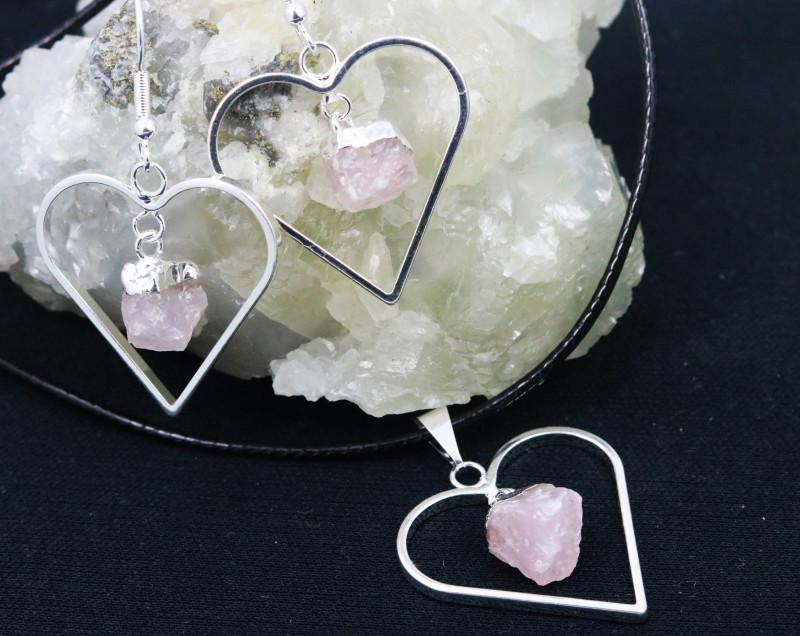Six Raw Rose Quartz Gemstone Lovers Heart Pendant and Earring BRLHRQ-6