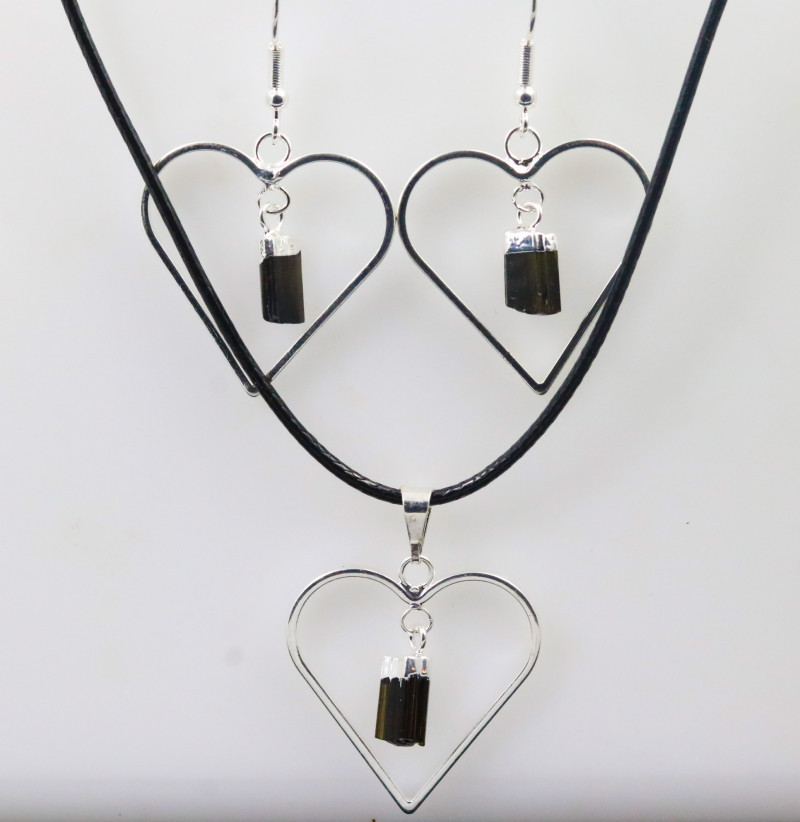 Six Raw Black tourmaline Lovers Heart Pendant and Earring BRLHBT -6