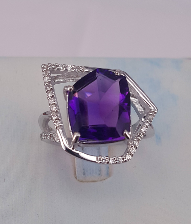 Natural Amethyst and Cz Ring.