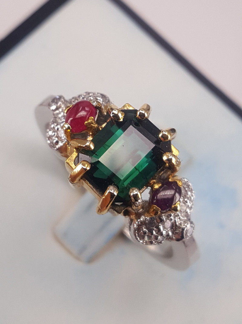 Natural Tourmaline and Ruby with CZ Ring