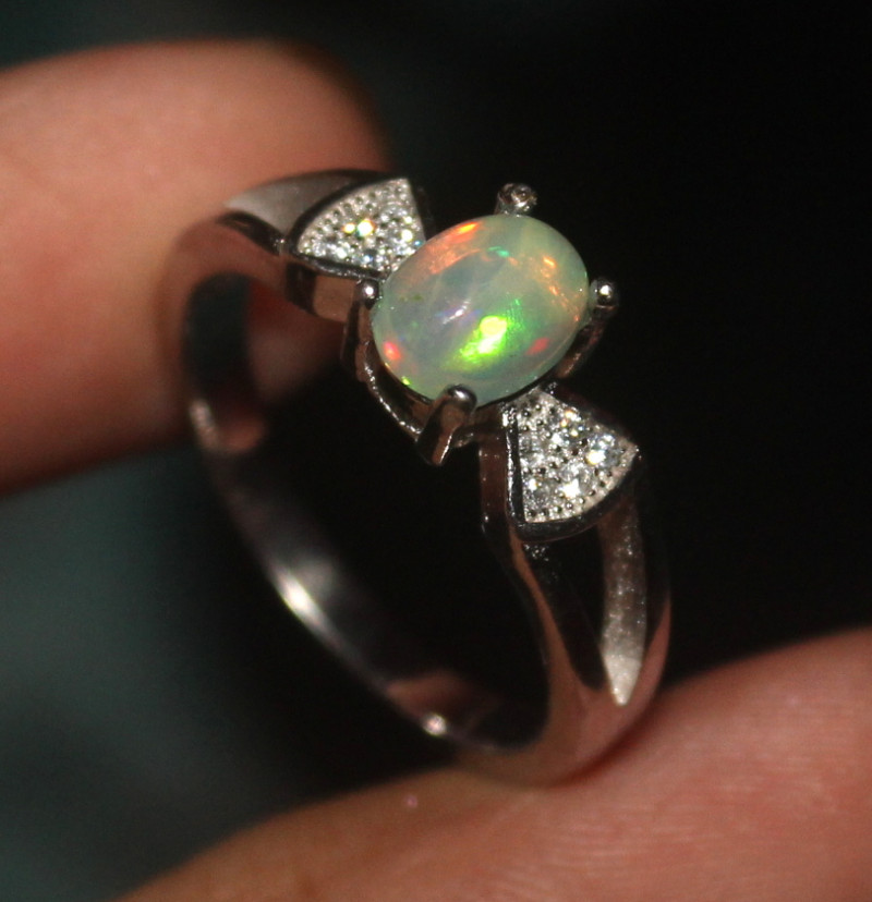 Natural Ethiopian Welo Opal 925 Silver Ring 14