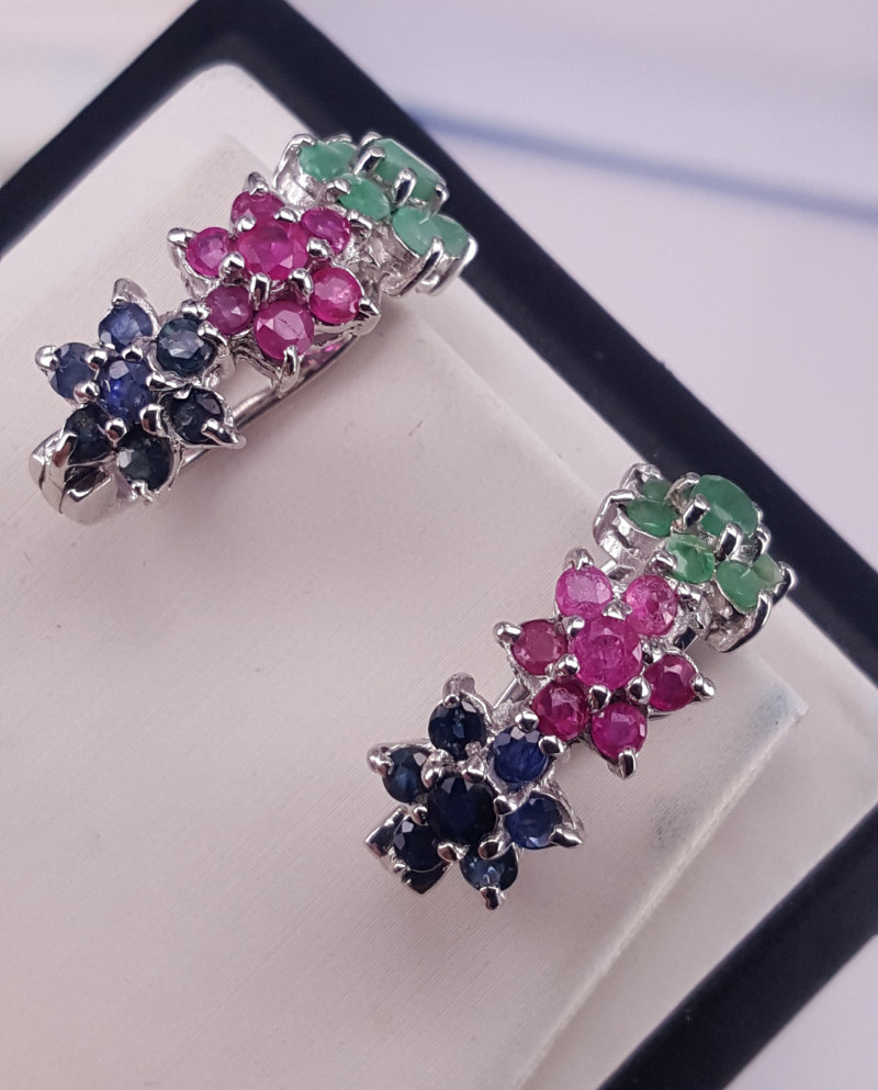 Natural emerald Ruby and Sapphire Earring.