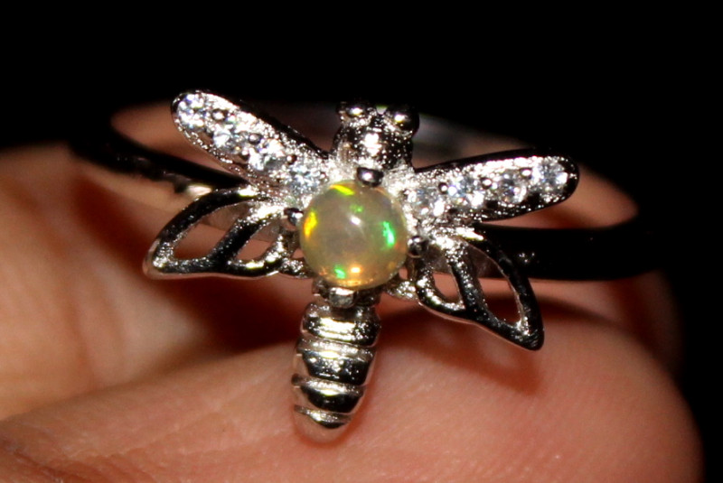 Natural Ethiopian Welo Opal 925 Silver Ring 67