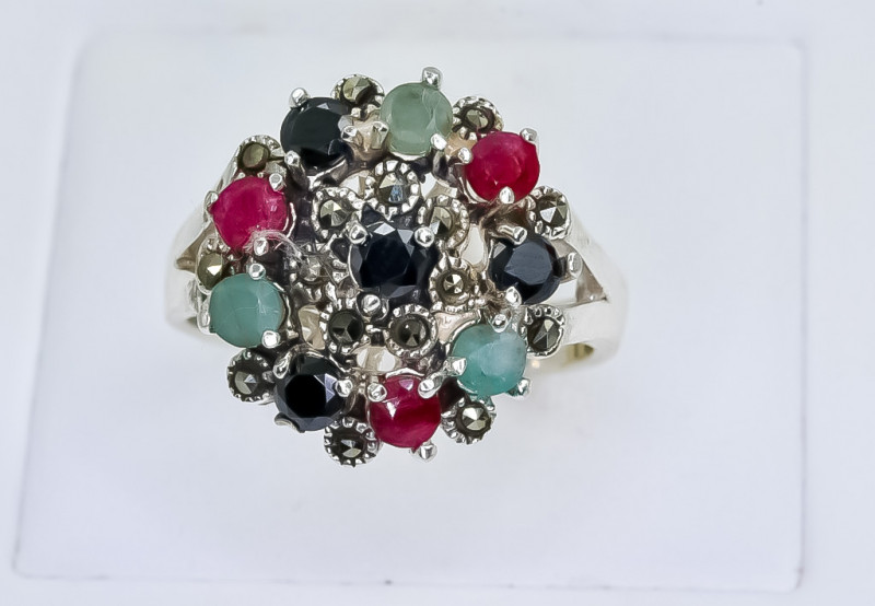 33.78 Crt Natural Ruby Emerald and Sapphire 925 Silver Ring