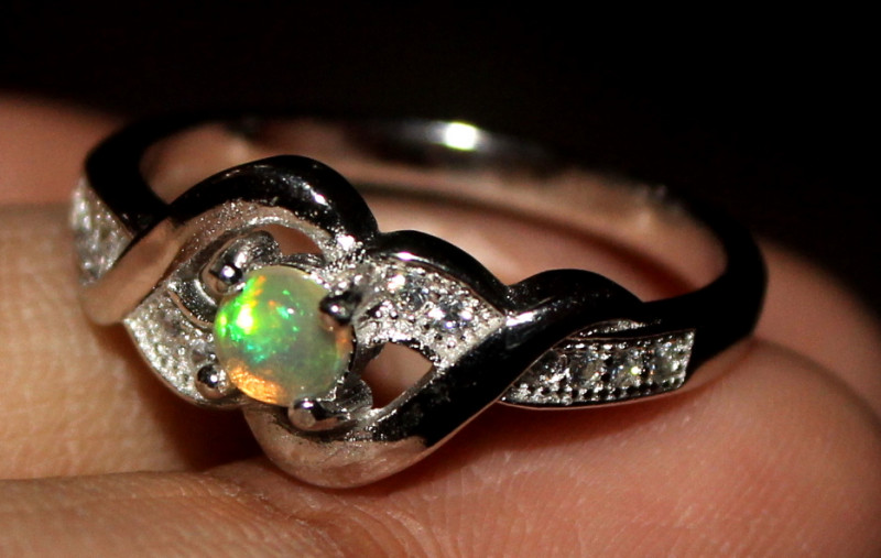 Natural Ethiopian Welo Opal 925 Silver Ring 2