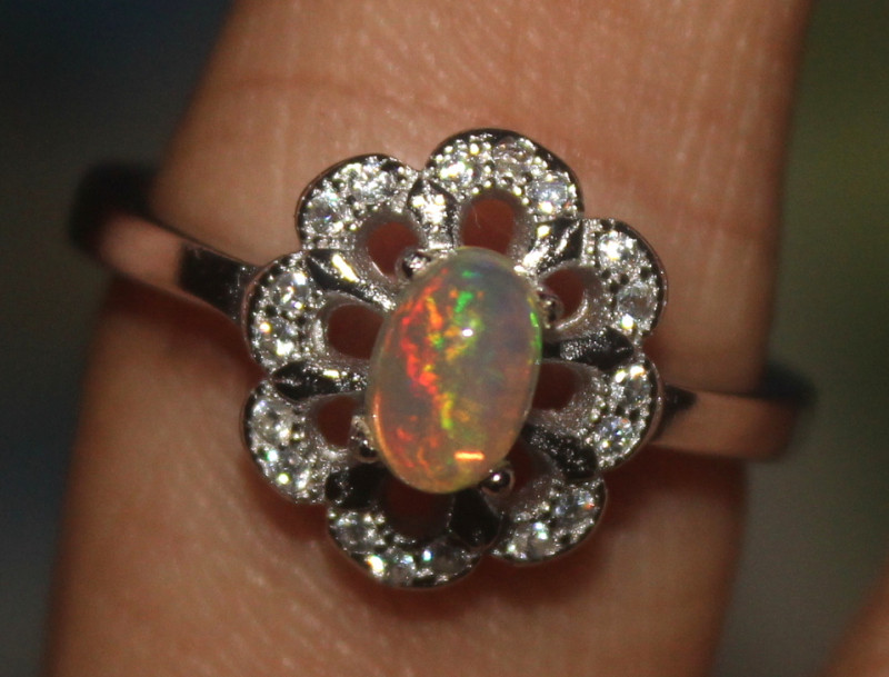 Natural Ethiopian Welo Opal 925 Silver Ring 109