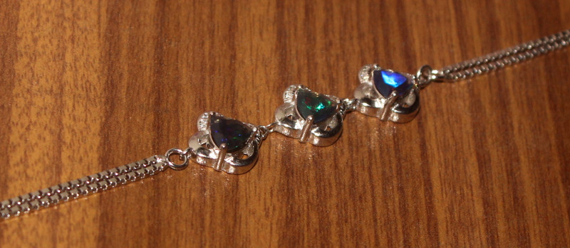 Natural Ethiopian Welo Smoked Faceted Opal 925 Silver Bracelet 18