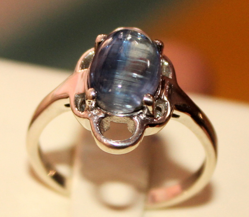 Natural Kyanite 925 Silver Ring 56