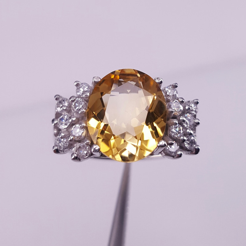 Natural Citrine and CZ Ring
