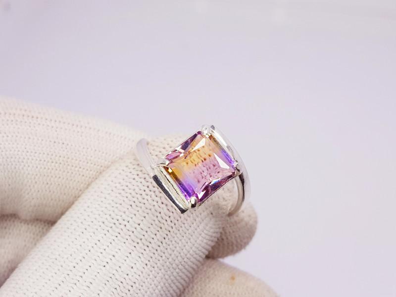 Natural BI Color Bolivianite (Ametrine) 925 Sterling Silver Ring