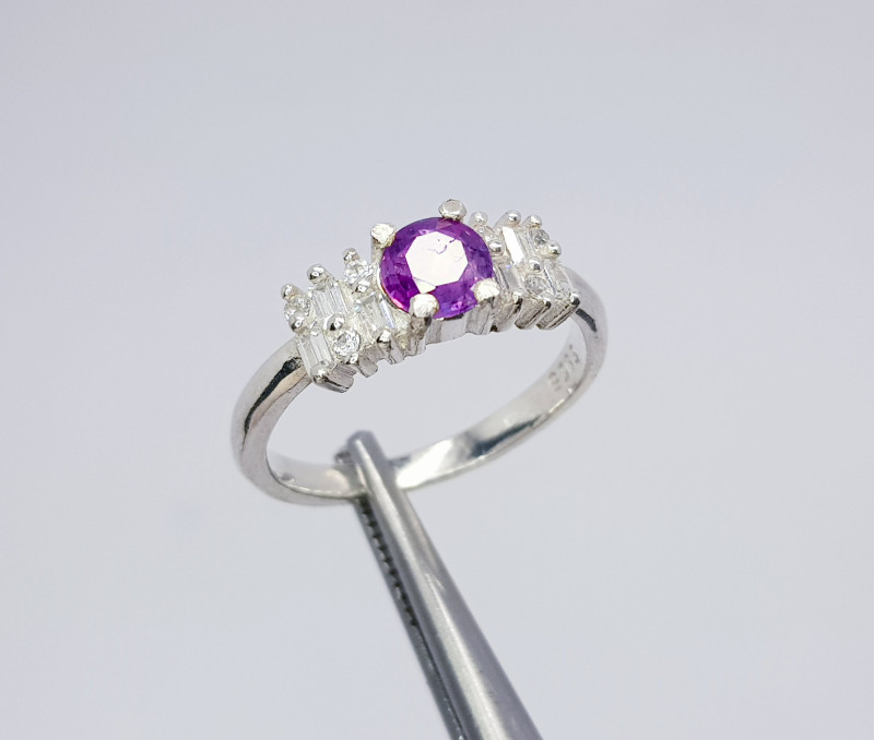 Natural Purple Sapphire CZ Ring 925 Sterling Silver