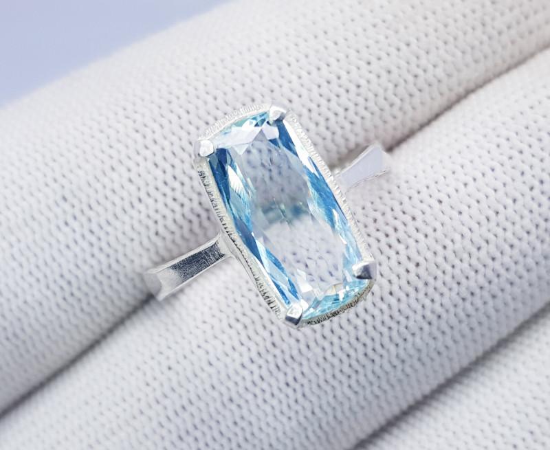 Natural Sea Blue Aquamarine Ring 925 Sterling Silver