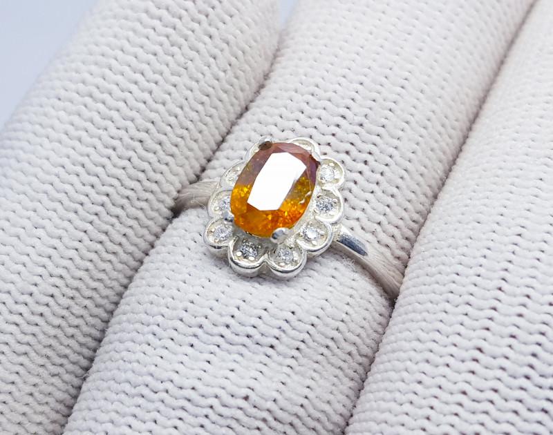 Natural Fire Sphen (Titanite) 925 Sterling Silver Ring