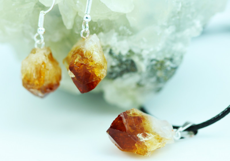 Six Raw Citrine Points Pendant and earring BRACIT-6