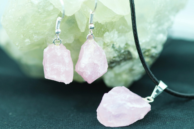 Four Raw Rose Quartz Points 12pc Pendant and earring BRARQ-4