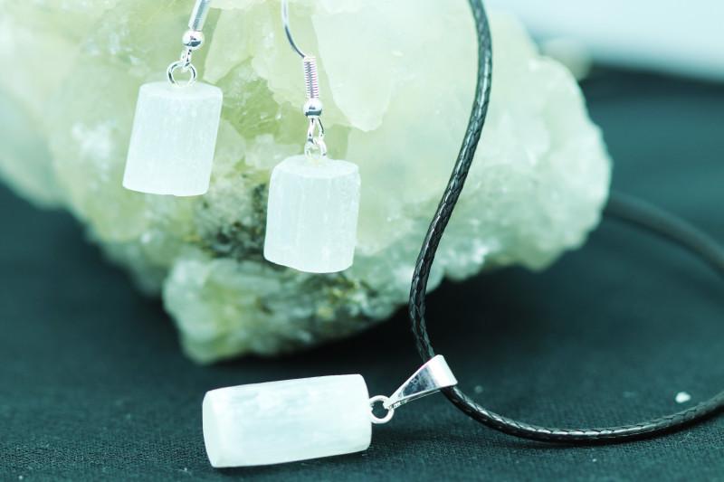 Twelve Raw Selenite 36pc Pendant and earring BRASEL-12