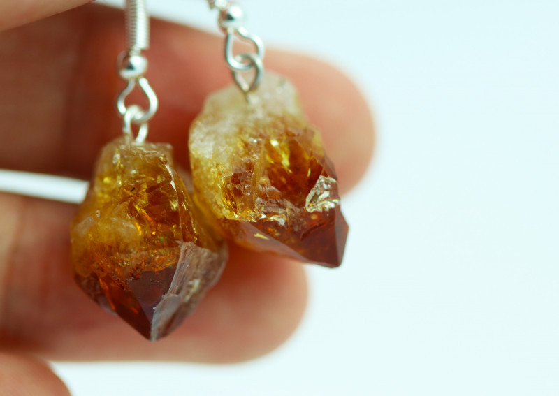 Six Raw Citrine Points Pair of Earrings BRACITE-6
